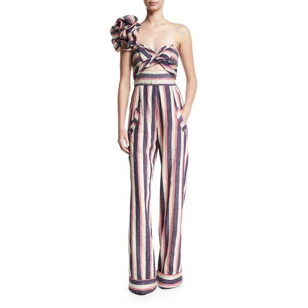 5984fac27c5 Johanna Ortiz Bahama Striped Floral-Shoulder Jumpsuit ( 2