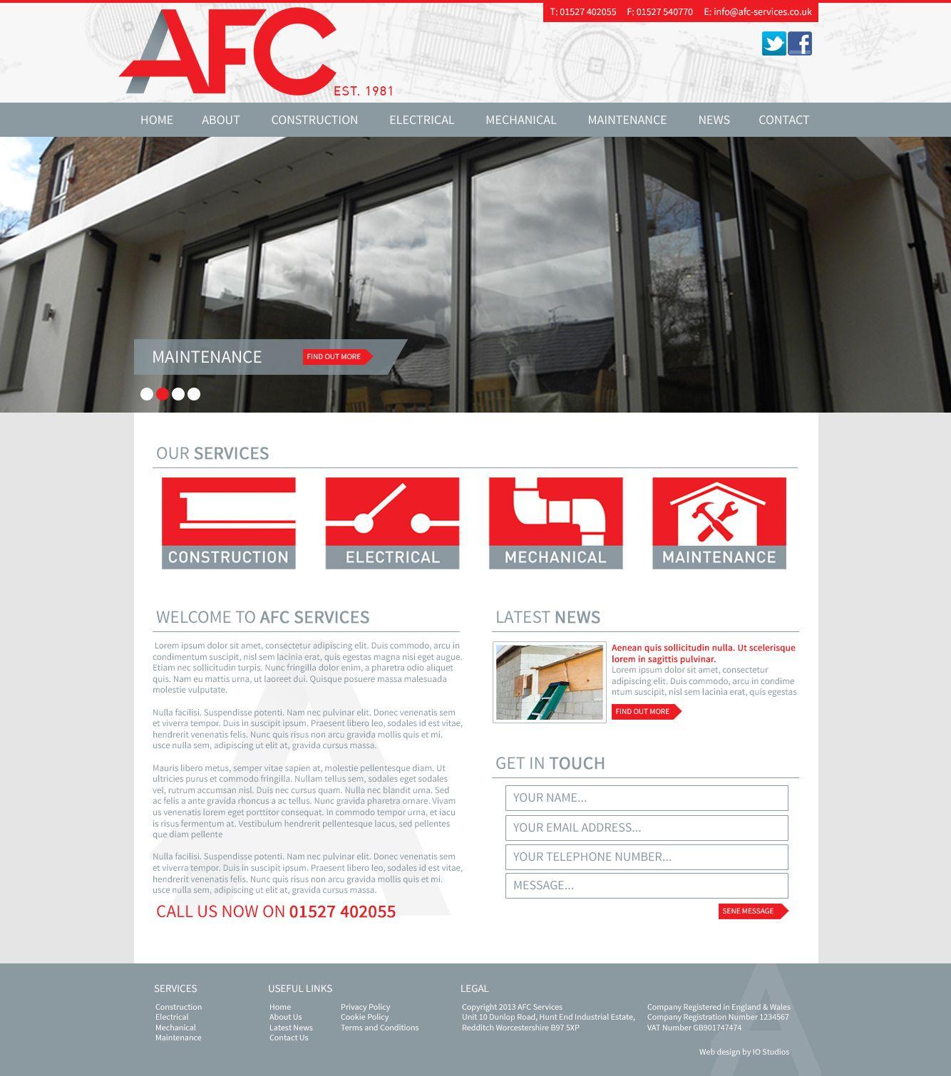 Afc Services Construction And M E Contractors In Redditch Birmingham Midlands Midlands Contractors Construction