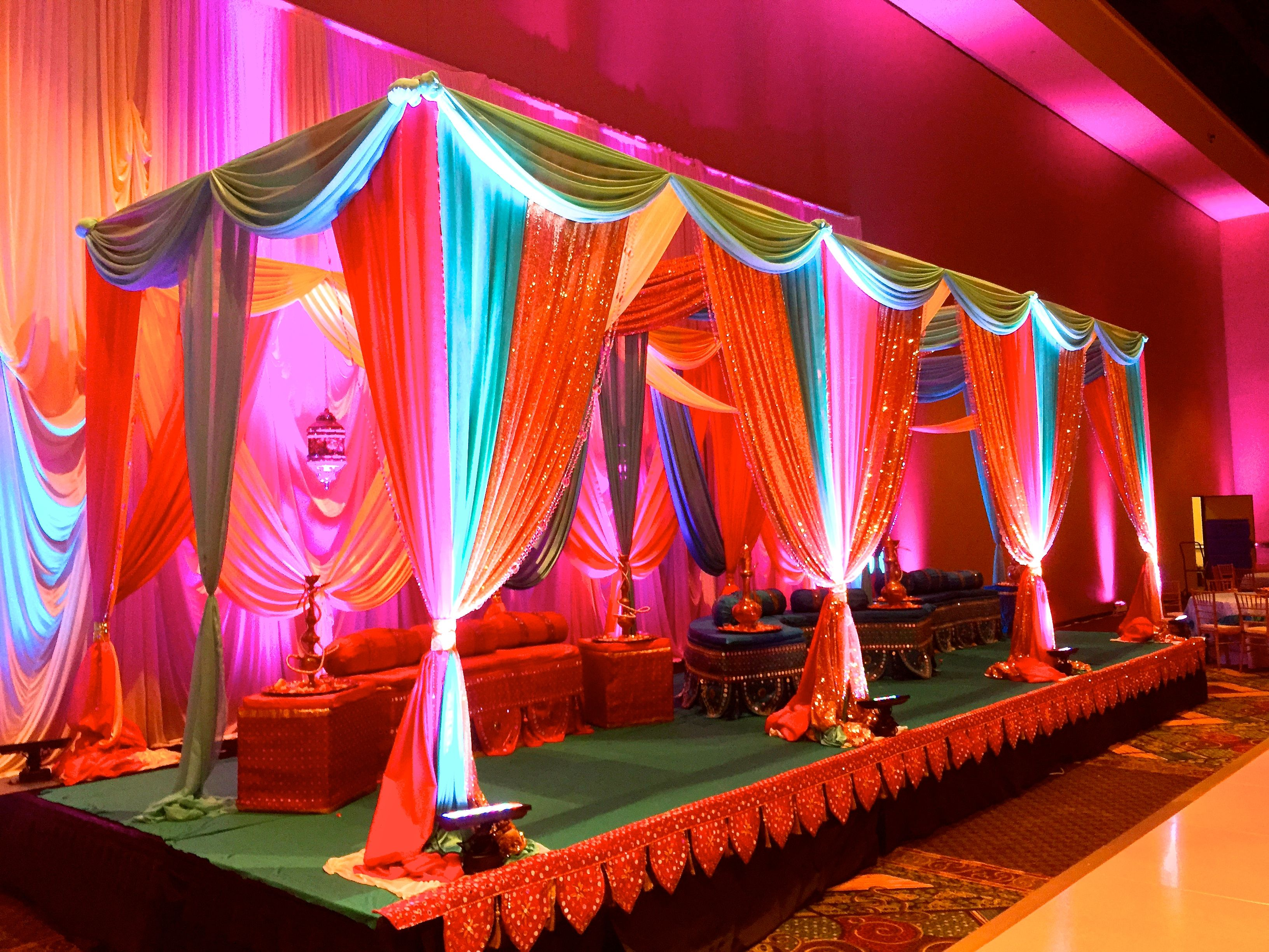 Head stage decor indian sangeet garba night or arabic for Sangeet decorations at home