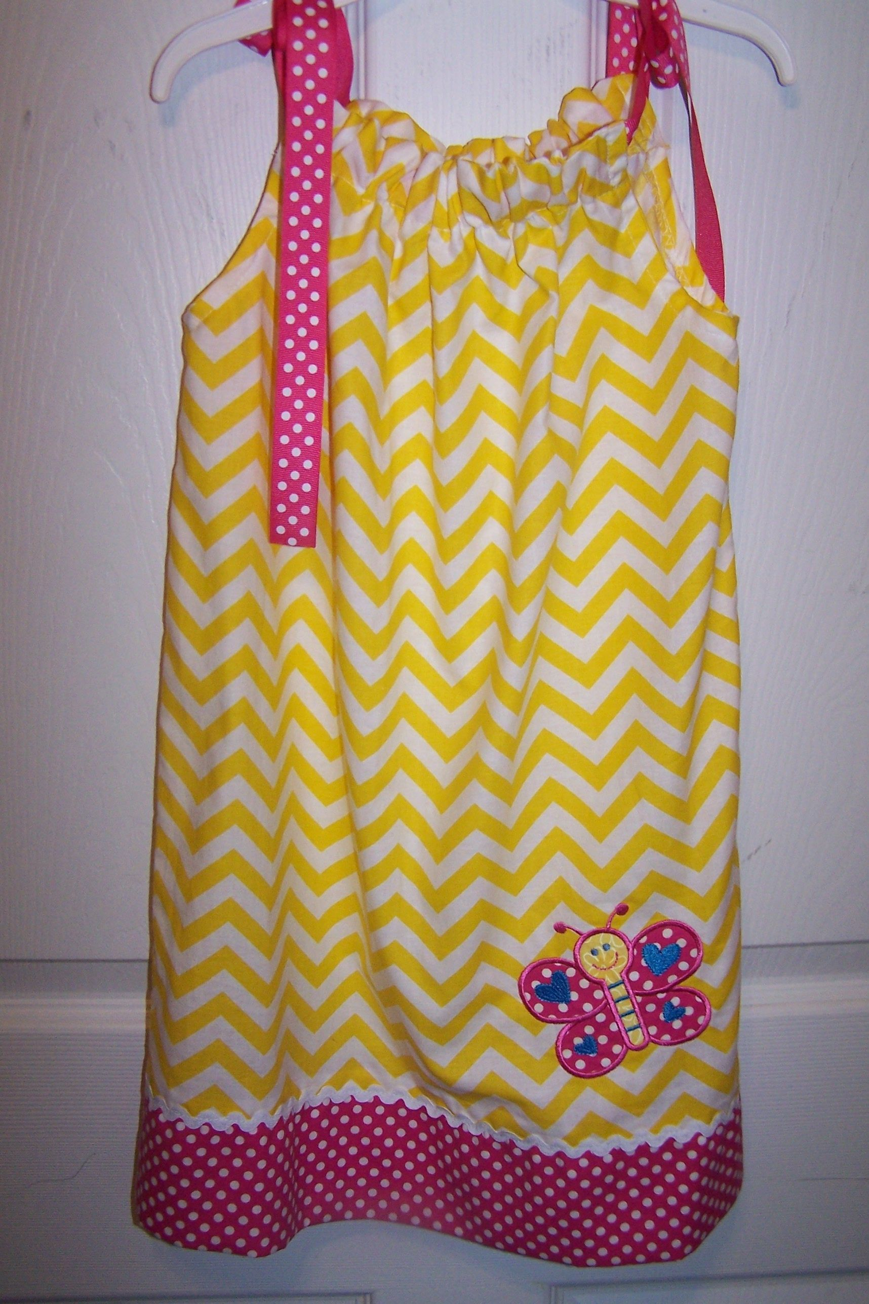 Yellow Chevron/Butterfly Pillowcase Dress