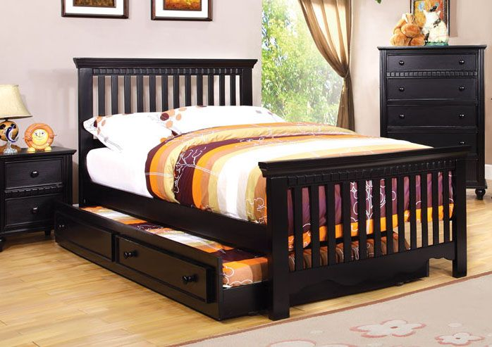 Best Canberra Cottage Black Wood Kids Twin Platform Bed Slatted 400 x 300