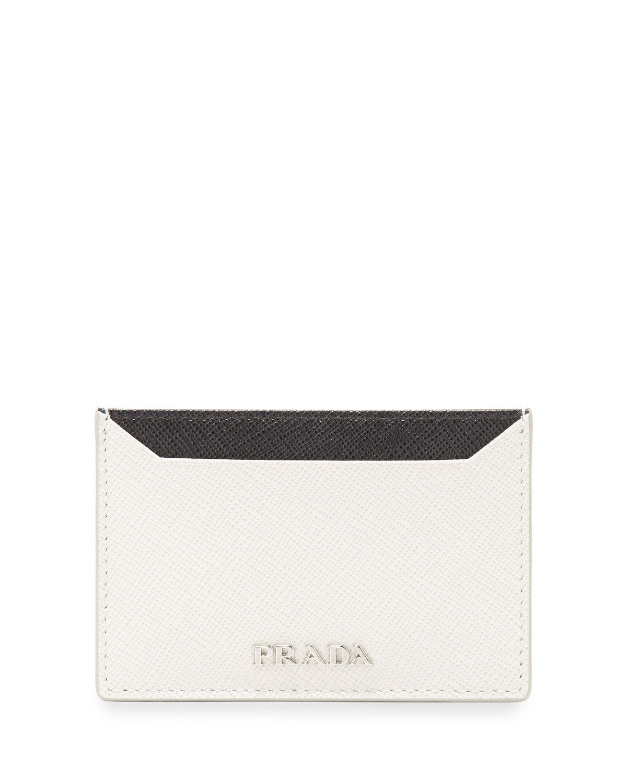 Saffiano Leather Flat Card Holder, Black/White, Women\'s, White/Black ...