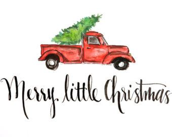Image Result For Vintage Red Truck Merry Christmas Print Out