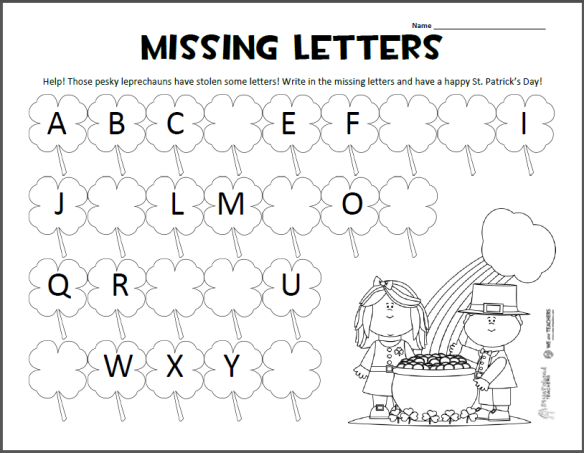 Squarehead Teachers St Patricks Day Missing Letters ABC page – Abc Worksheets