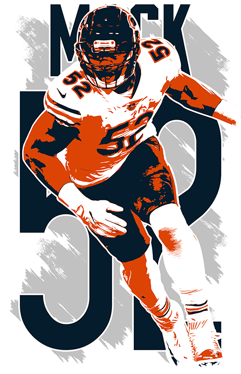 Khalil Mack Art Print Poster Chicago Bears Free S H Jersey 10 29 Picclick Chicago Bears Pictures Chicago Bears Wallpaper Bears Football