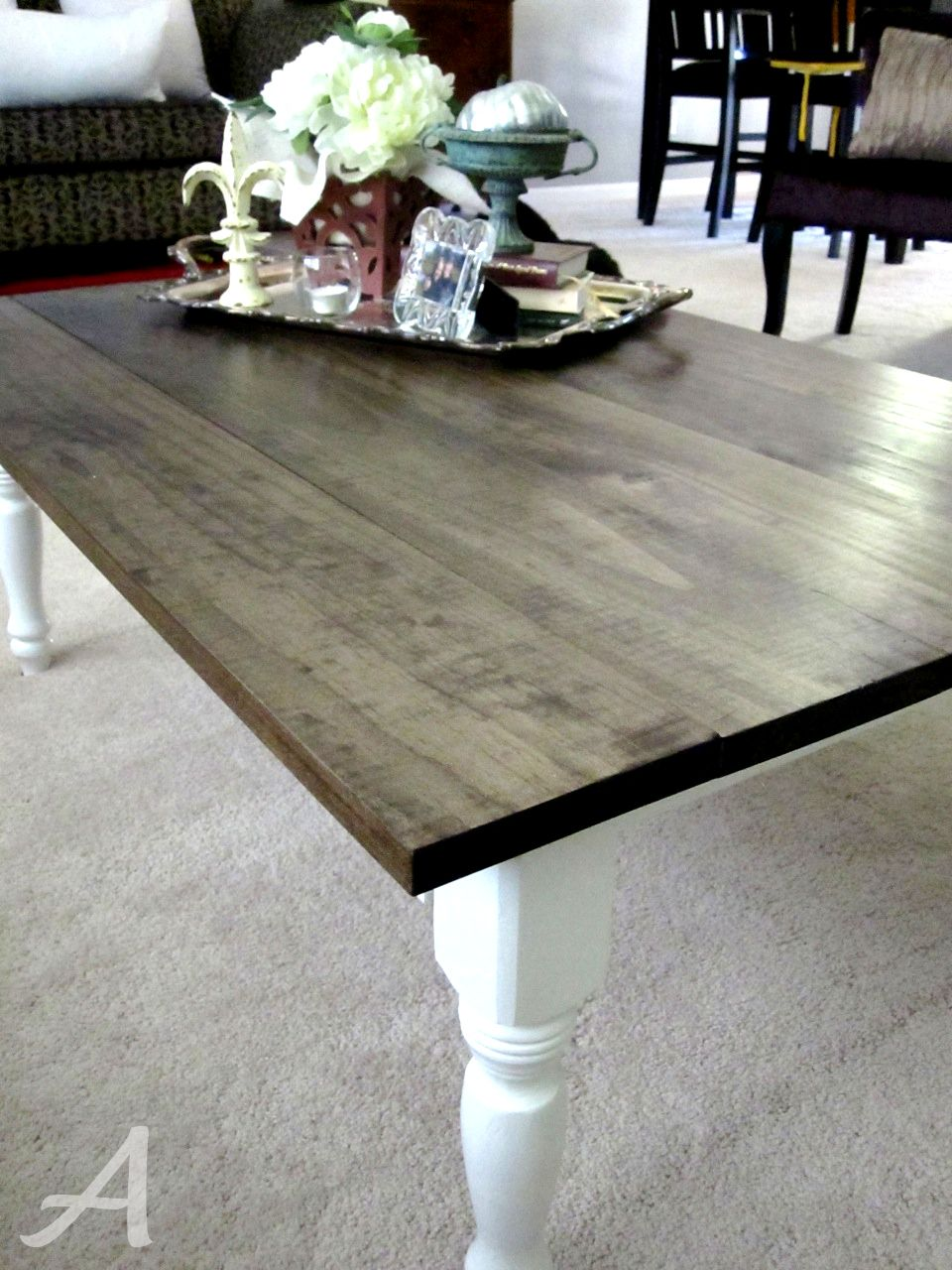 Refinish cheap dining table as desk w dark top & white