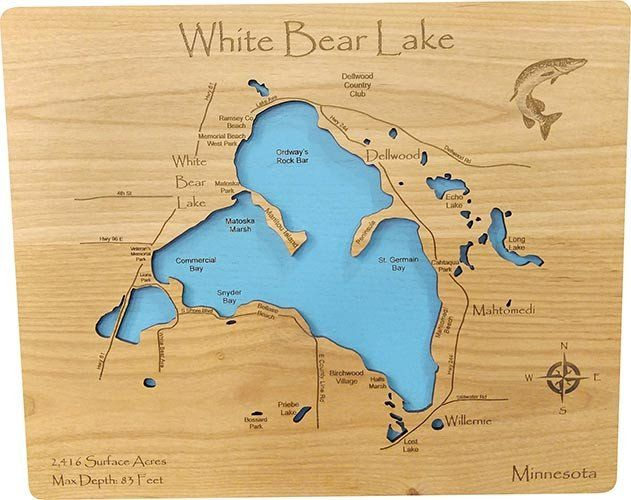 Pin On Standout Laser Cut Wood Lake Maps