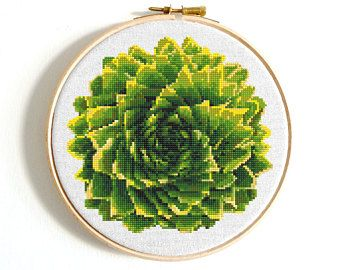 Cactus cross stitch pattern Floral cross stitch Flower embroidery sampler Geometric modern home decor Counted xstitch PDF birthday DIY gift