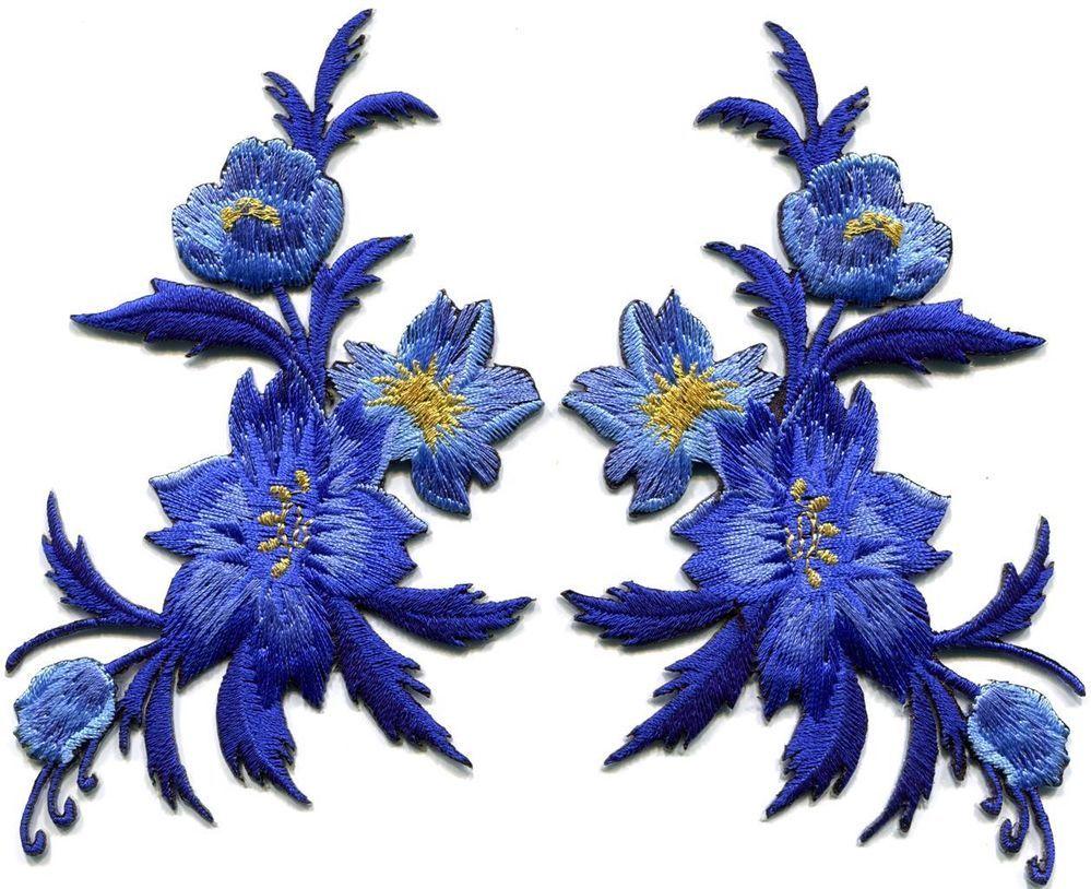 Royal Blue Flowers Pair Floral Bouquet Boho Applique Iron On Patches