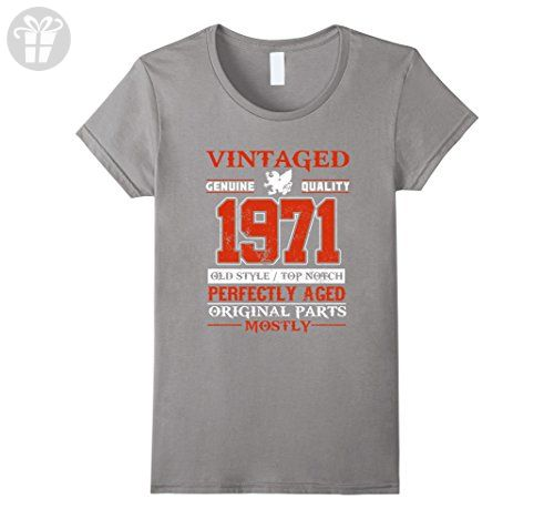 Womens Vintage Born in 1971 46th Birthday T-Shirt 46 Years Old Small Slate - Birthday shirts (*Amazon Partner-Link)