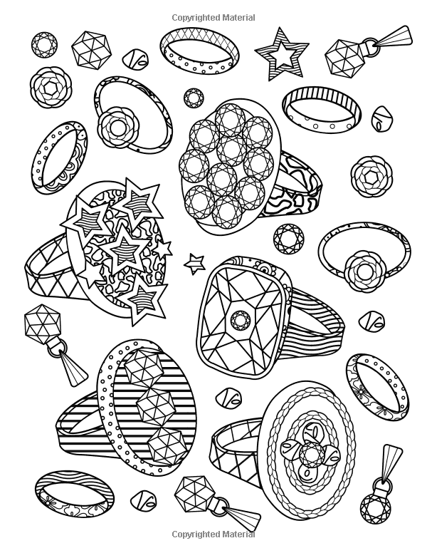 the best jewelry adult coloring book  pages of jewels
