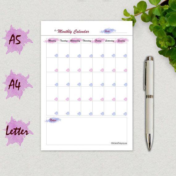 Calendar Template Printable Calendar Page Blank Monthly Calendar