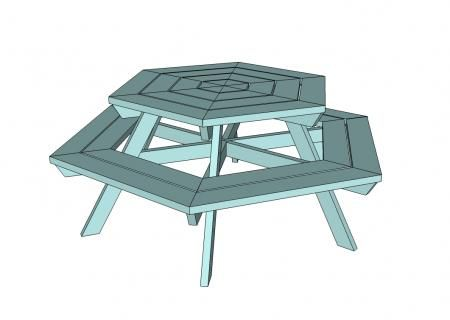 I want to make this!  DIY Furniture Plan from Ana-White.com  A hexagon shaped picnic table. Features six large bench seats and round top, updating the casual classic into a more user-friendly backyard fav!