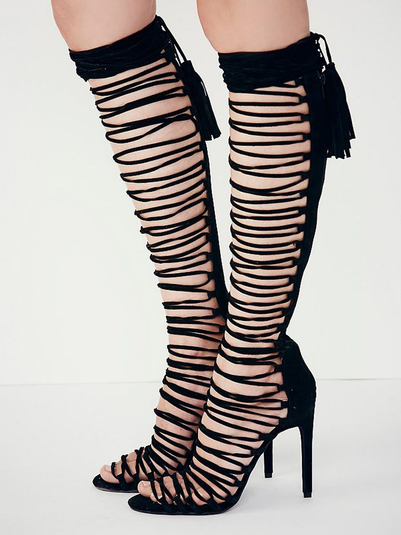 Black Suede Lace Up Tasseled Back Gladiator Heeled Sandals ...