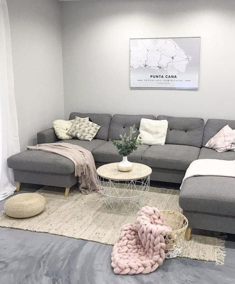 Bobochic canapé panoramique scandi gris  Idee deco salon gris