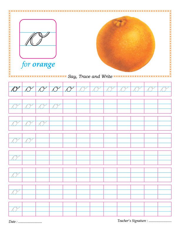 Cursive small letter o practice worksheet | english starters | Pinterest