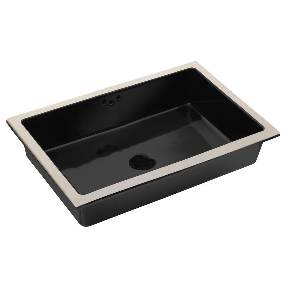 Kohler Kathryn Vitreous China Undermount Bathroom Sink With Glazed Underside In Black With Overflow Drain Black Black Undermount Bathroom Sink Sink Bathroom Sink Vanity