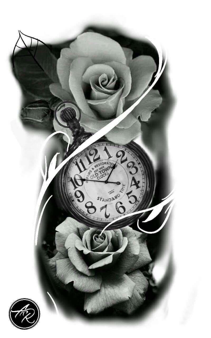 Clock Drawing Tattoo Tatuagem De Relogio Clock And Rose Tattoo Clock Tattoo Clock Tattoo Design