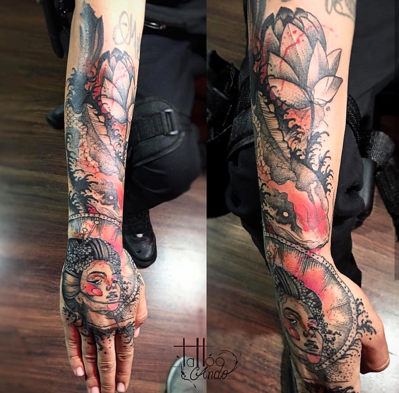 Blackwork Infused Color Tattoo Blackwork Tattoo Tattoos Best Tattoo Shops Blackwork Tattoo
