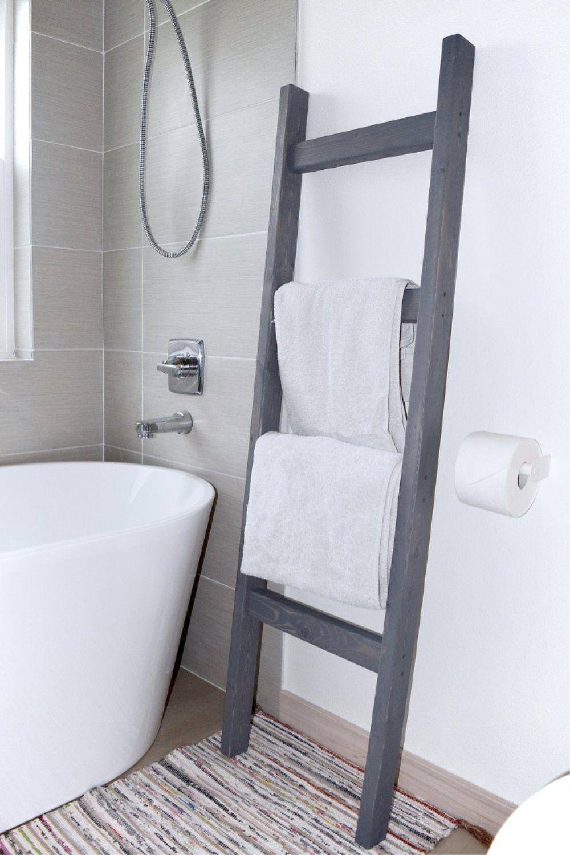 5 Ft Wooden Decorative Blanket Ladder 4 Rung Stained Carbon Gray In 2020 Towel Ladder Decorative Blankets Blanket Ladder