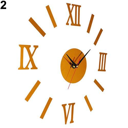 Photo of Vintage Roman Numerals Frameless Wall Clock 3D Home Decor Wall Art Stickers – Gold