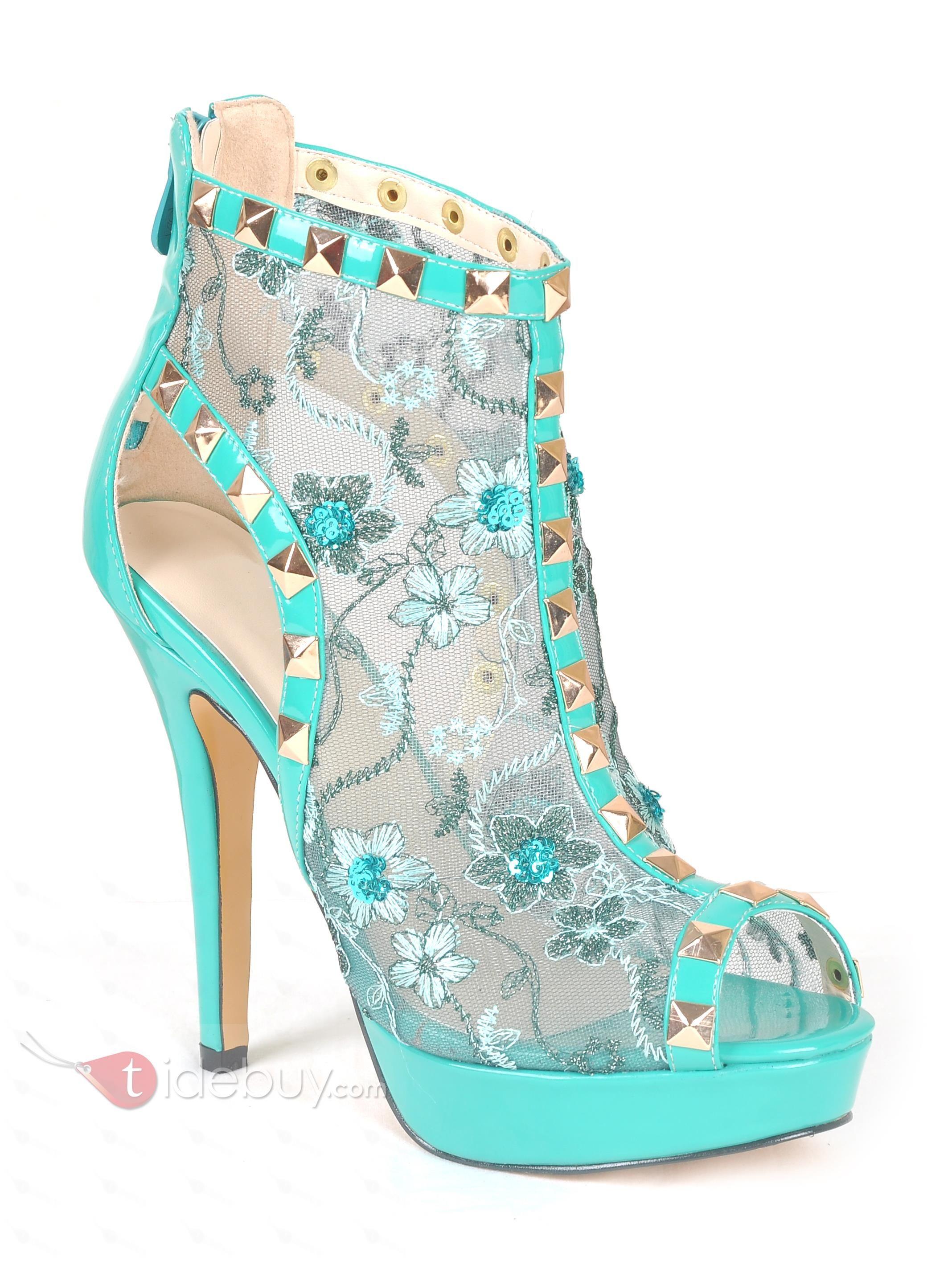 d5984eae540 Glamorous Transparent Upper Turquoise Peep Toe Back Zipper Platform ...