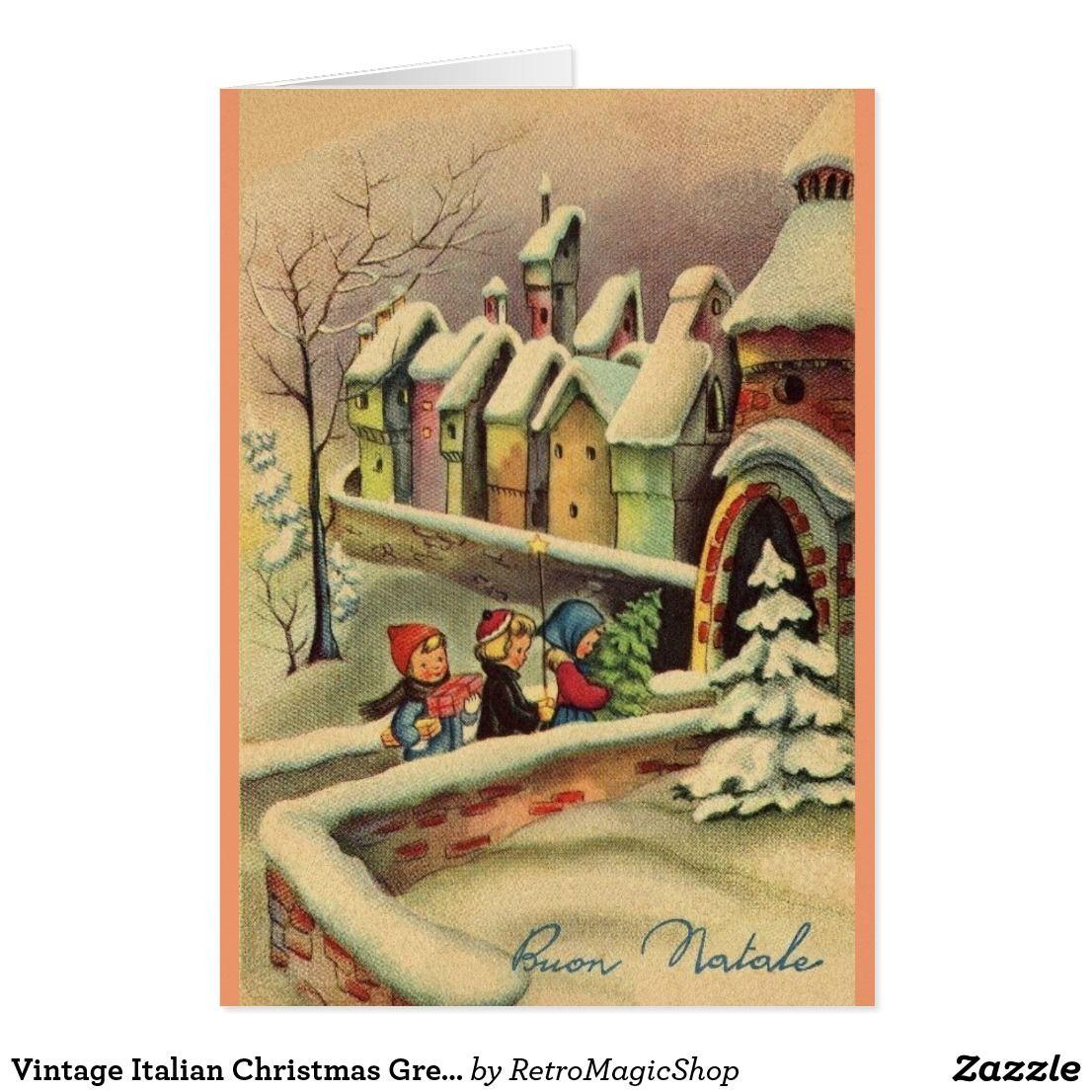 Vintage Italian Christmas Greeting Card Custom Christmas Greetings