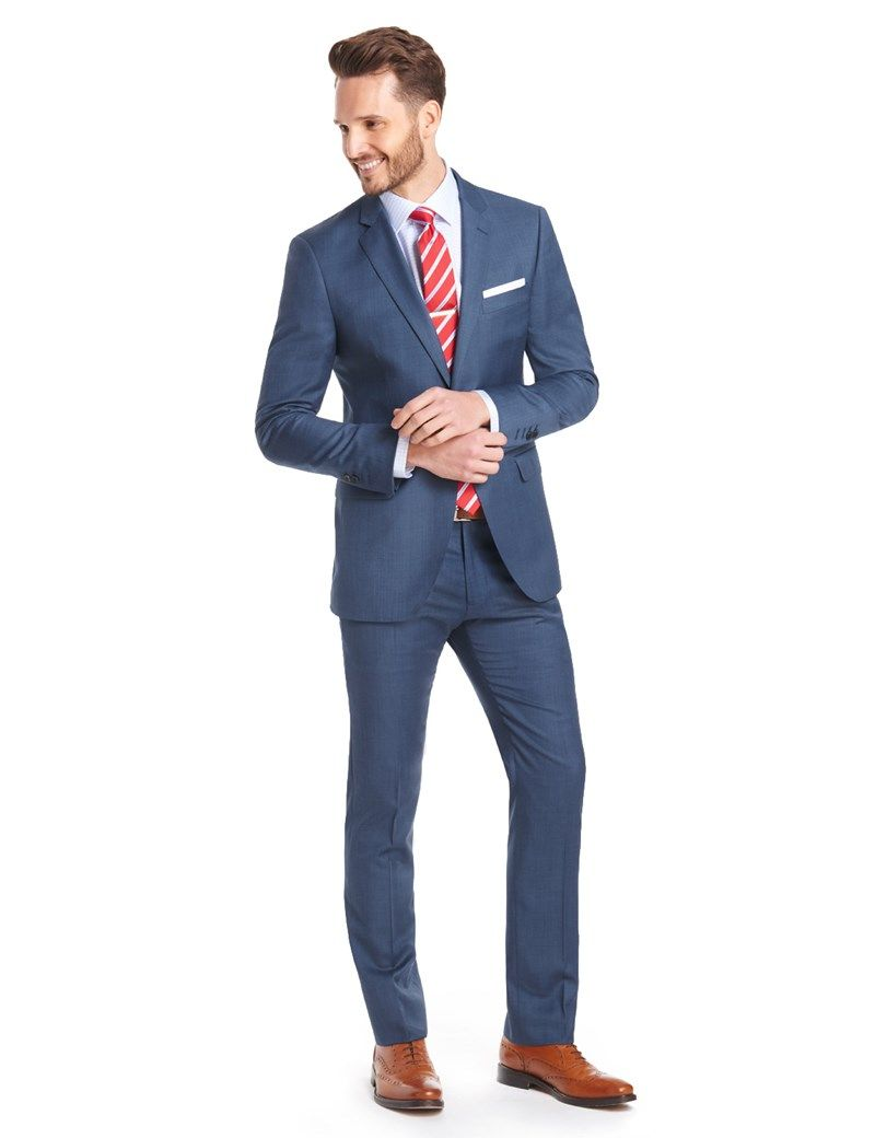 c180f6669b43f Men's Blue Sharkskin Extra Slim Fit Suit - Super 120s Wool | Hawes and  Curtis