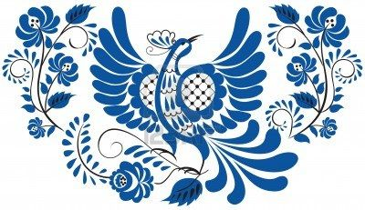 Russian national floral pattern - gzhel Bird on the branch with leaves, swirls and flowers Stock Photo