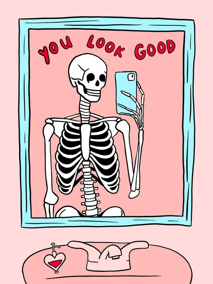spooky poster 👻 you look good skeleton illustration