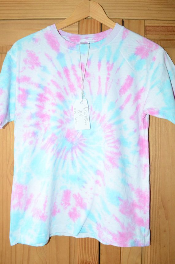 New Unisex Tie Dye T Shirt Size Small Pastel Blue Pink Hippy