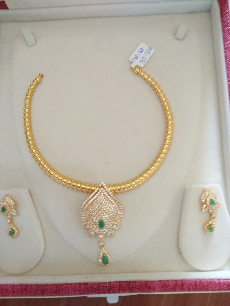 33 Grams Gold Jewelry Fashion Gold Jewellery Design Gold Stone Necklace