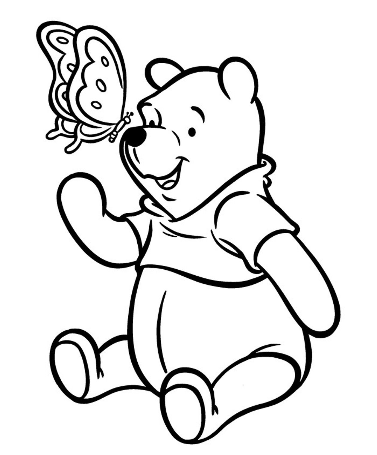 winnie the pooh and butterfly coloring pages for kids printable winnie the pooh coloring pages for kids - Pooh Bear Coloring Pages Birthday