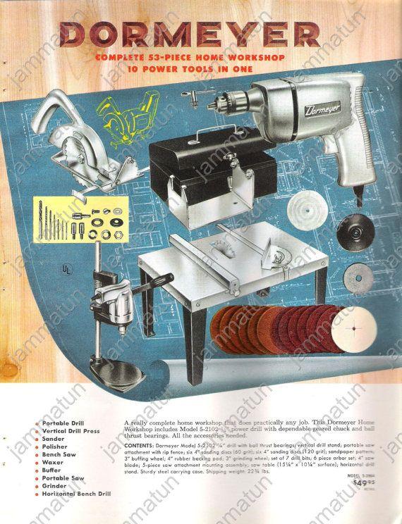 1957 Print Ad, Dormeyer Power Tools, Home Workshop ...