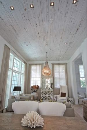 Distressed White Wood Plank Ceiling House Styles Home Home Decor