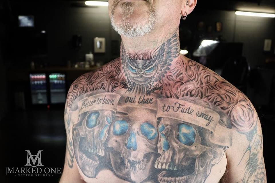 One Piece Hand Tattoo: Gav Added Free-hand Smoke To This Awesome Chest Piece