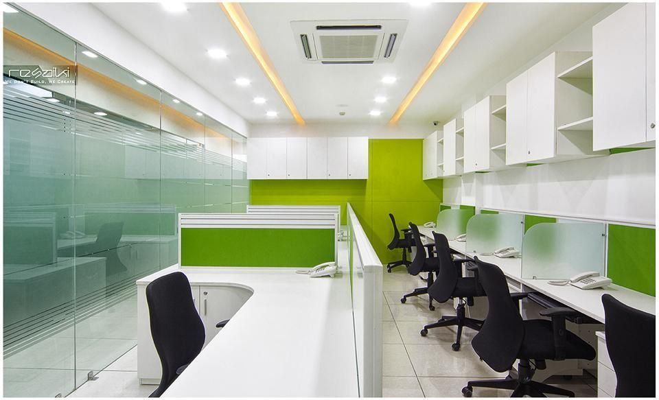 commercial office interiors workstation area by nikhil aggarwal