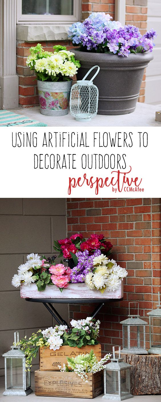 Decorating With Artificial Flowers Side Porch Front Porch Spring Porch Outdoor Decor Artificial Flowers Artificial Flowers Outdoors Artifical Flowers