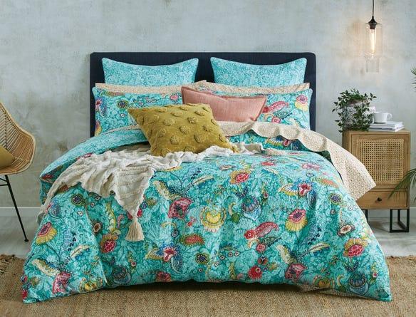Jacinta Quilt Cover Aqua Floral Bed Bath N Table Quilt Cover Bedding Sets Single Quilt