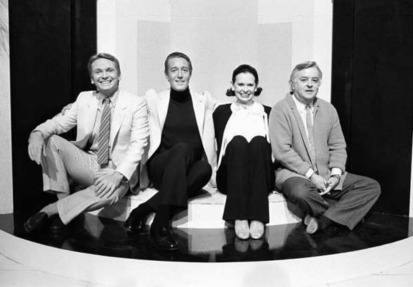 """Bob Mackie, Halston, Gloria Vanderbilt and Geoffrey Beene -- for a taping of an episode of the TV show """"The Love Boat"""" on Feb. 4, 1981."""