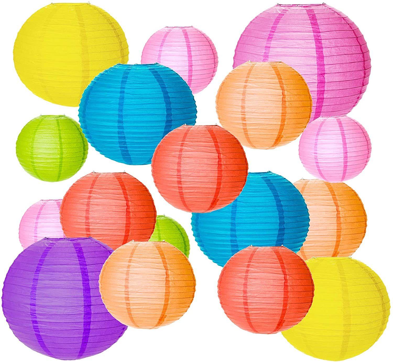 Seelok 20stk Bunt Papier Laterne Rund Papierlampion Kinder Papier Laternen 4 Grosse Lampenschirm Zum Aufhangen Deko Fu In 2020 Lampions Papierlampenschirm Party Garten