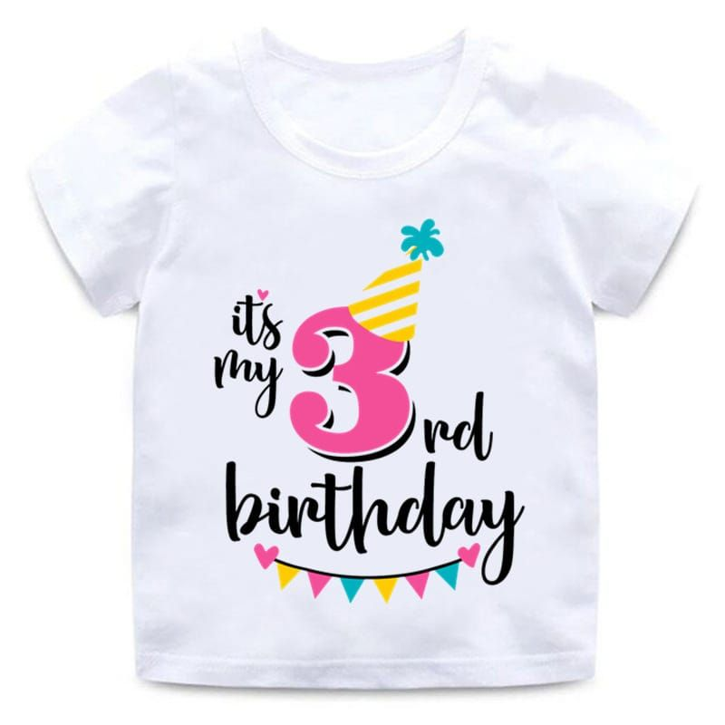 Girls Round Neck Birthday Numbers Printed T-Shirt