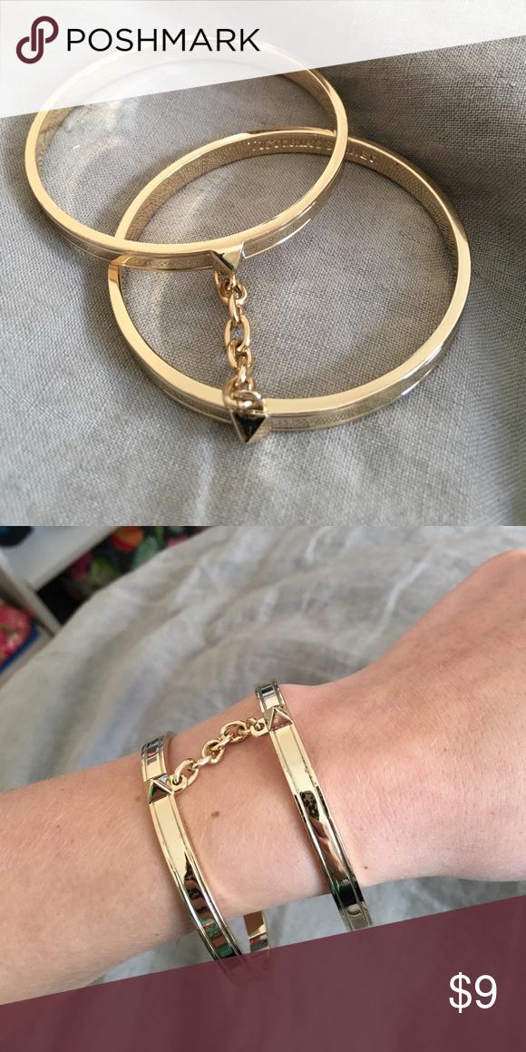 Victoria\u0027s Secret Handcuff Bangle Bracelet Never worn! Two bangles attached  by chain. Victoria\u0027s Secret Jewelry Bracelets