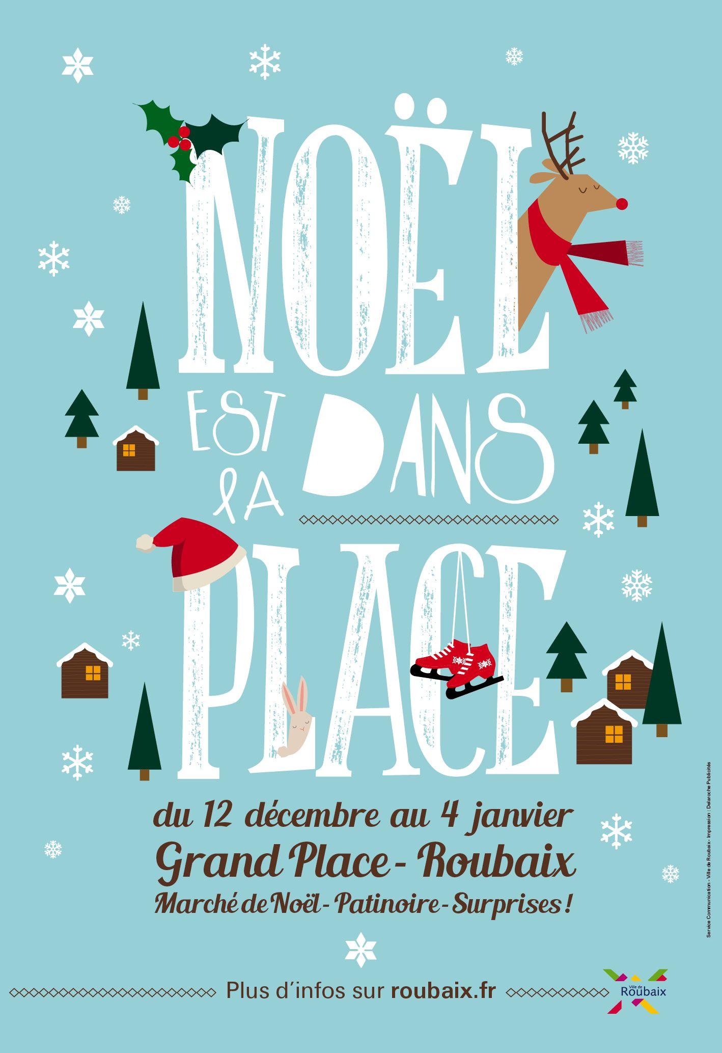 Affiche Noel Noël est dans la Place © création Amandine Derachinois   Ville de