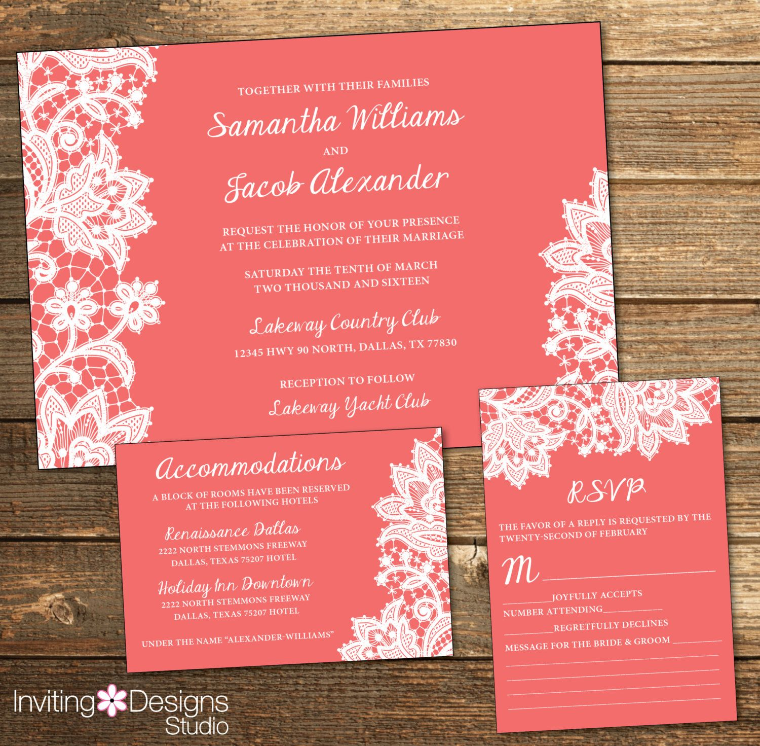 Lace Wedding Invitation, White Lace, Coral, Coral and White Lace ...