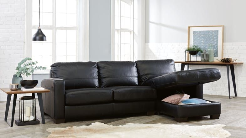 Compac 2 5 Seater Leather Sofa Bed With Storage Chaise Domayne