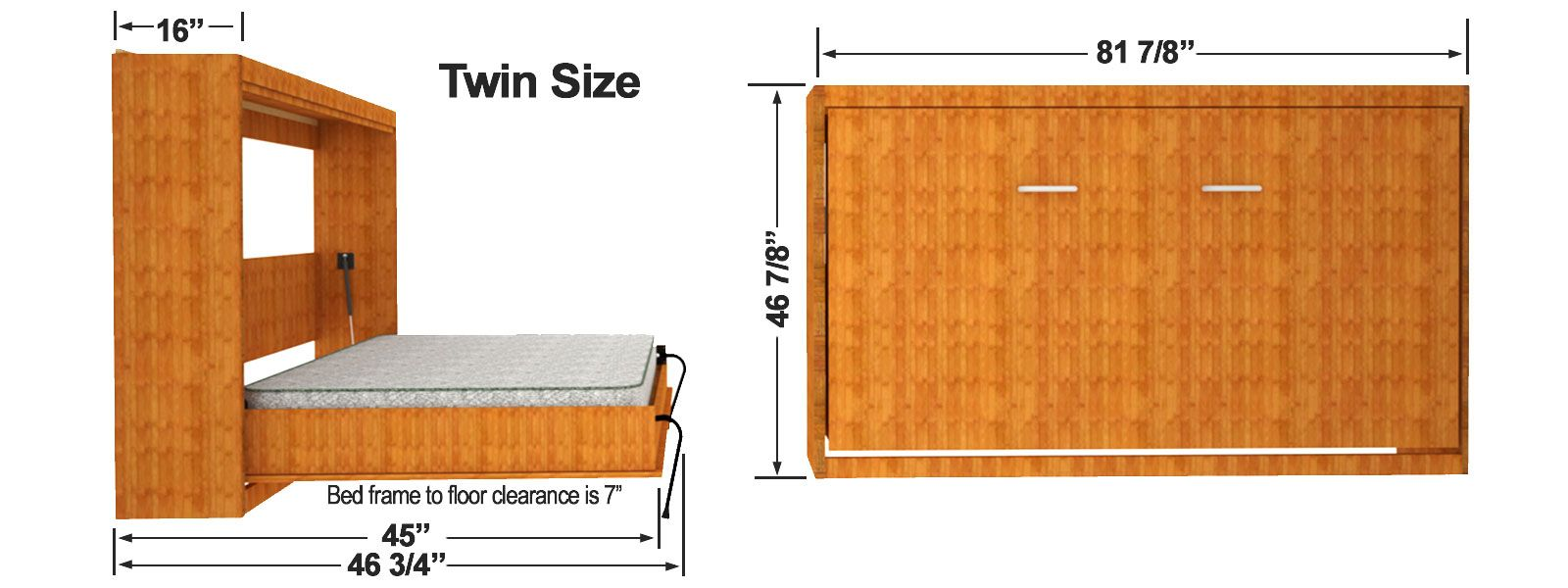 Horizontal Easy Diy Murphy Sizes Bed Twin Size Wall Cabinet Dimensions