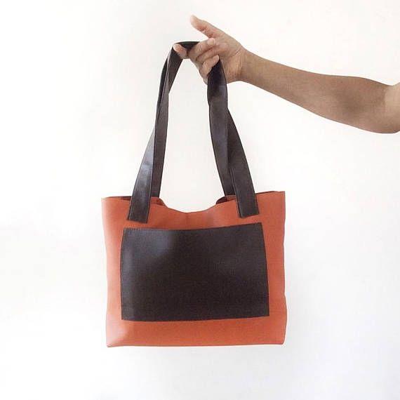 b5d7ef46f61f Small vegan leather bag brown tote purse small vegan purse