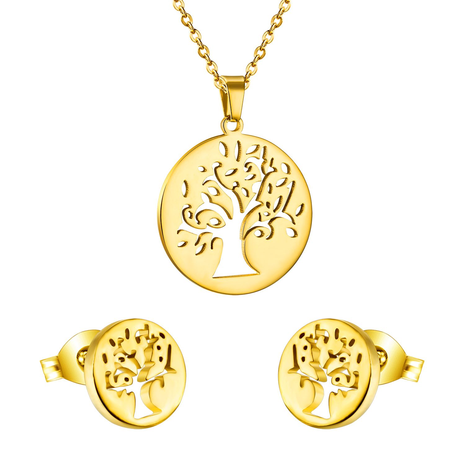 Vitage big tree round cut pendant necklace with earrings women