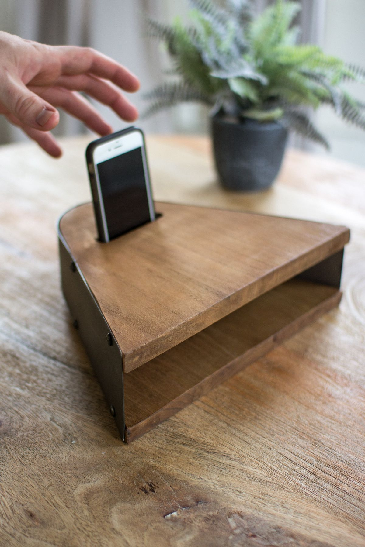 Prop this Honey Wood Smart Phone Speaker on the coffee table